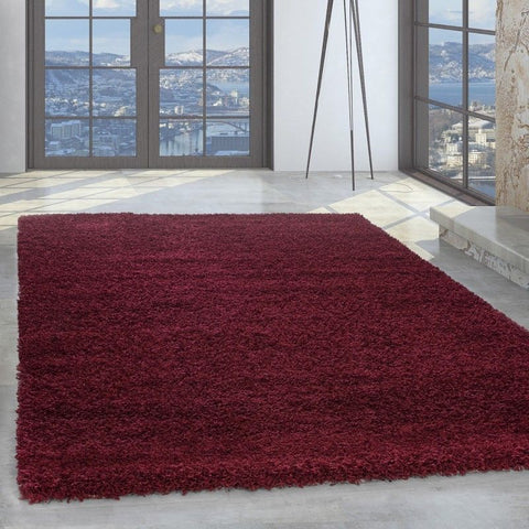Red Fluffy Rug New Modern Deep Pile Shaggy Carpet Small Large Plain Bedroom Mats