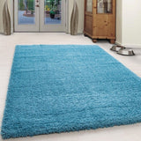 Blue Fluffy Rug Modern Deep Pile Shaggy Mats Small Large Plain Room Floor Carpet