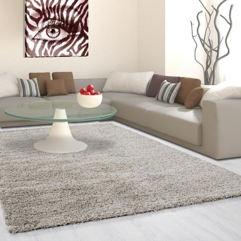 Round Fluffy Rug New Modern Beige Deep Pile Shaggy Mat Runner Room Floor Carpets
