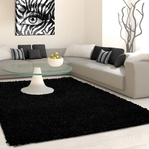 Fluffy Rug Modern Anthracite Deep Pile Shaggy Carpet Living Room Round Floor Mat