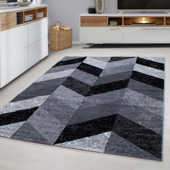 Grey Geometric Rug New Modern Chevron Carpet Small X Large Zig Zag Area Hall Mat