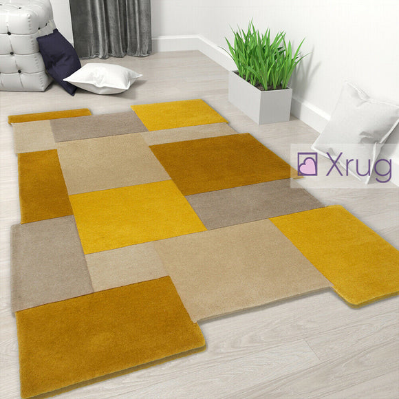Yellow Wool Rug Thick Mustard Carpet Rugs Geometric Abstract Mat Small Large New
