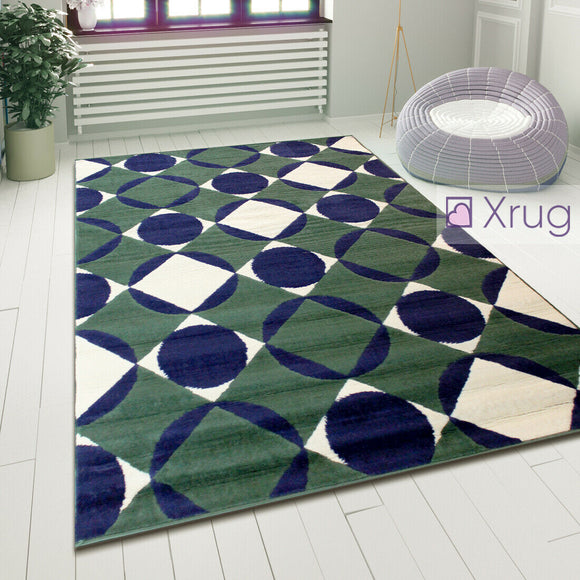 Geometric Rugs Modern Teal Blue Floor Carpet Small Large Living Room Lounge Mats