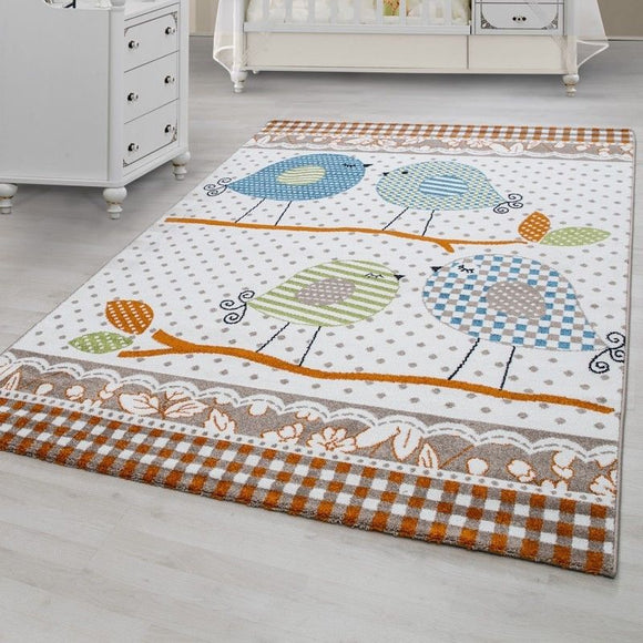 Childrens Rugs Cream Blue Green Birds Pattern Carpet Kids Bedroom Baby Play Mat