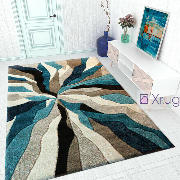 Modern Rug Teal Grey Beige Black Contour Cut Pattern Thick Floor Mat Small Large