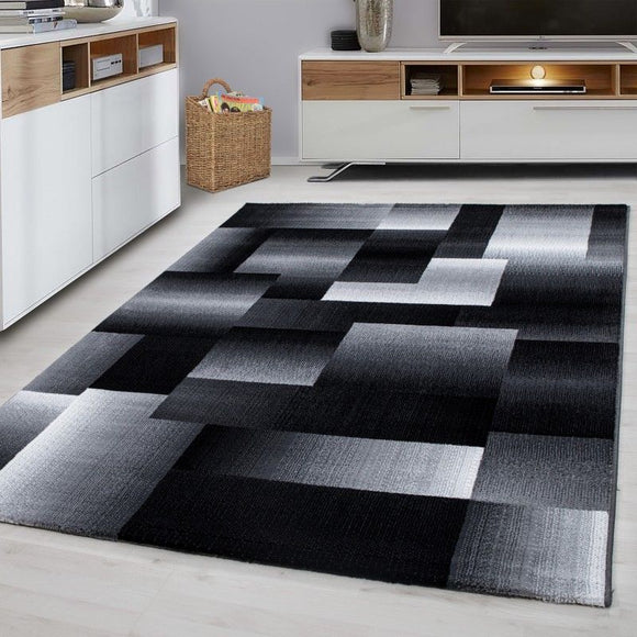 Geometric Rug Modern Black Grey Pattern Carpet Living Room Hall Mats Small Large