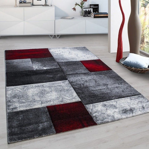 Geometric Rug Red Black Grey Check Pattern Mat Small X Large Runner Area Carpets