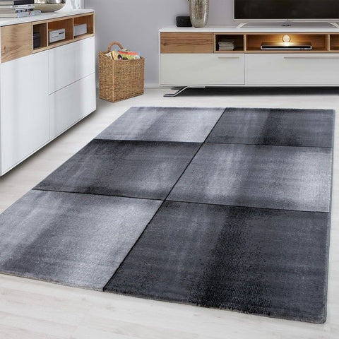 Geometric Rug Modern Grey Black Check Design Mats Small Large Dining Room Carpet