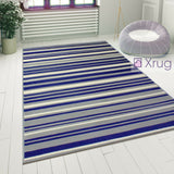Rug for Living Room Blue Grey Striped Pattern Carpet Small Large Modern Area Mat