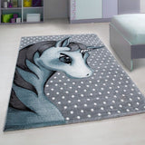 Kids Unicorn Rug Grey Blue White Childrens Animal Mats Round Nursery Play Carpet
