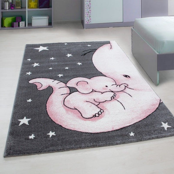 Childrens Animal Rug Grey Pink Elephant Nursery Carpet Kids Play Baby Room Mats