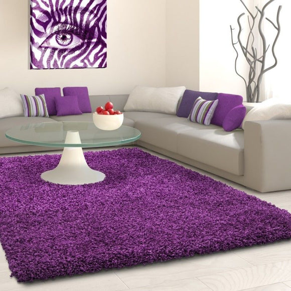 Shaggy Rugs Purple Fluffy Deep Pile Carpet Modern Plain Bedroom Floor Lounge Mat