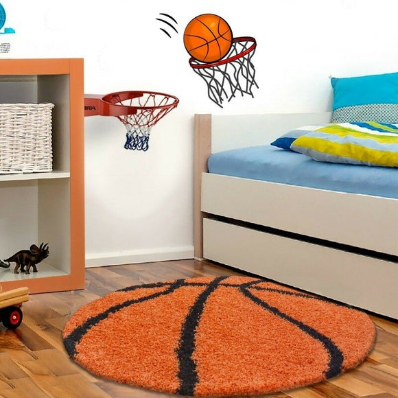 Boys Rug Orange Black Basketball Childrens Carpet Round Fluffy Kids Room Mat New