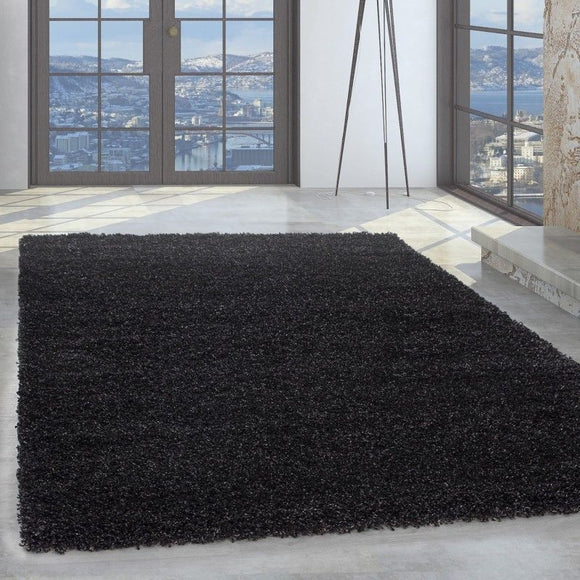Shaggy Rug Modern Anthracite Fluffy Room Mat Long Pile Round Carpets Small Large