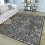 Oriental Rug Anthracite White Dark Grey Soft Mat Microfiber Bedroom Floor Carpet