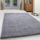 Deep Pile Shaggy Rug Light Grey Plain Floor Carpets Small Large Round Fluffy Mat