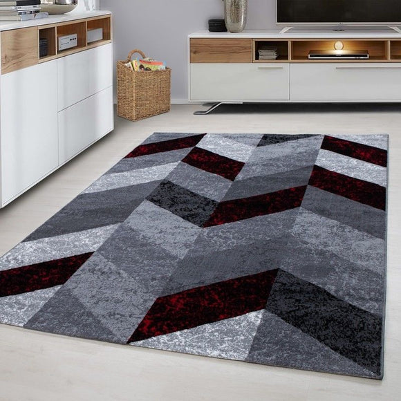 Modern Rugs Red Black Grey Geometric Pattern Mat Small Large Room Runner Carpets