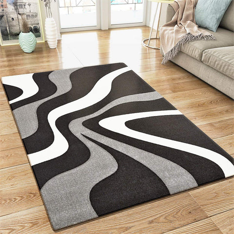 Abstract Rug Black Grey White Wave Design Contour Cut Woven Low Pile Carpet Mat for Living Room & Bedroom