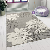 Modern Floral Design Rug Silver Grey White Soft Low Pile Woven Floor Carpet for Living Room or Bedroom