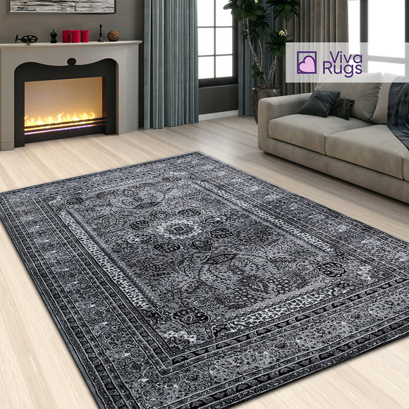 Modern Grey Rug Floral Pattern Extra Large Small Xl Low Pile Short Piles Soft Carpet Woven Oriental Area Mat Foor New Traditional Vintage Rugs Polypropylene 120x170cm 4'x5'6
