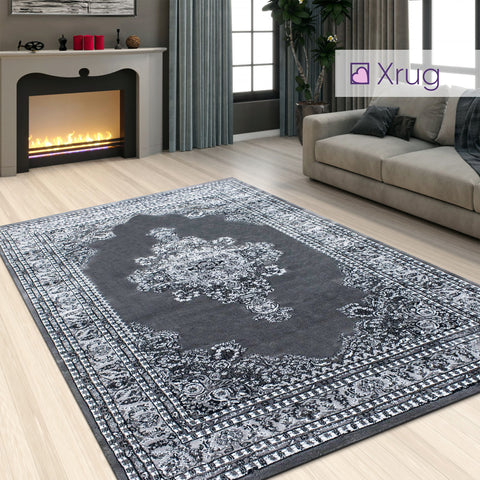 Oriental Grey Rug Thick Soft Damask Style Pattern Border Design Traditional Carpet Extra Large XL Small