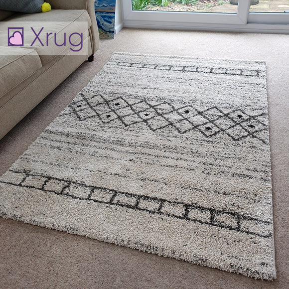 Cream Rug 120x170 Thick Pile Geometric Modern Rugs Bedroom Living Room Carpets