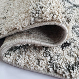 Thick Rugs White Cream with Grey Pattern Azteck Style Carpet Mats