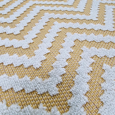 Outdoor Rug UK Yellow Cream Zig Zag Carpet Plastic Mat for Garden Patio Gazebo Decking