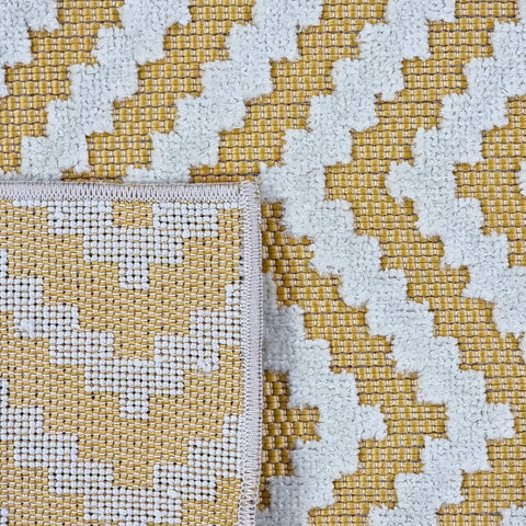 Outdoor Rug Plastic for Garden Patios Gazebo Zig Zag Chevron Yellow Cream Woven Mat