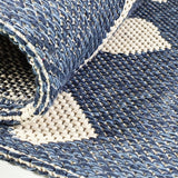 Blue Cotton Rug 100% Cotton Rugs Navy Cream Berber Diamond Pattern Washable Flat Weave Mat Carpet Small Extra Large Runner