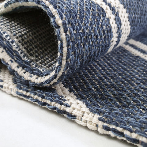 Cotton Rug Navy Blue Diamond Pattern Washable Runner Modern Woven Mat Carpet Small Extra Large