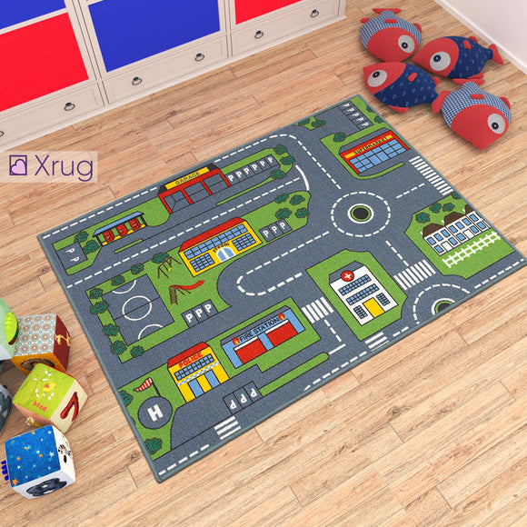 Kids Rug Boys Vehicle NON SLIP MACHINE WASHABLE Road Car City Nursery Mat for Bedroom Playroom Play Mat 100x133cm