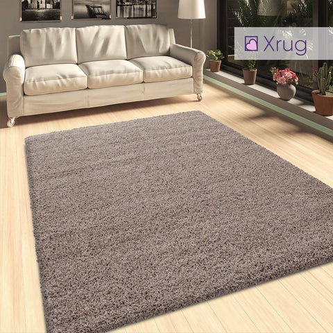 Beige Shaggy Rug Fluffy 50mm Pile for Living Room Bedroom
