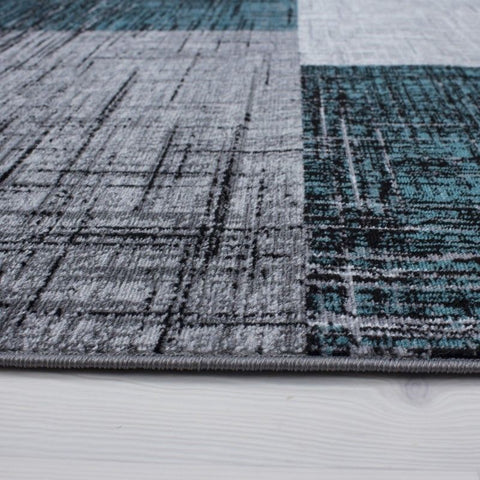 Check Rug New Modern Silver Grey Blue Geometric Pattern Carpet Bedroom Floor Mat