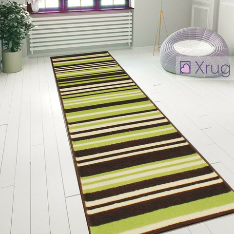Striped Rug Green Brown Modern Pattern Floor Carpet Small Large Bedroom Area Mat