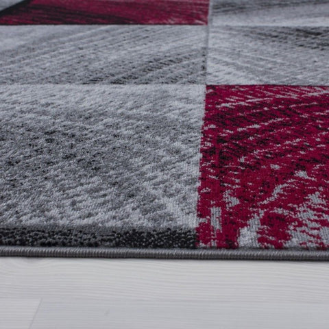 Modern Rug Grey Red Black Checkered Mat Geometric Living Room Runner Carpet New