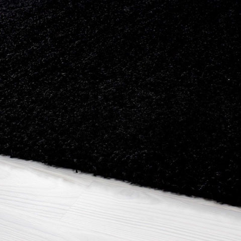 Black Fluffy Rug Plain Deep Pile Shaggy Carpet Modern Living Room Area Mat Round