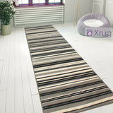 Striped Rug Modern Pattern Grey Black Cream Mat Small Large Bedroom Floor Carpet