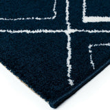 Modern Rug Navy Blue White Soft Microfiber Check Mats Large Living Room Carpet
