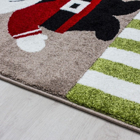 Kids Rug Beige Green Red Childrens Play Mats Nautical Theme Boys Bedroom Carpet