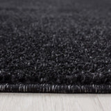 Plain Rug Black and Grey Anthracite Modern Carpet Small Extra Large Bedroom Living Room Area Lounge Hallway Runner Mat New