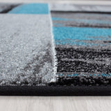 Abstract Rug Modern Grey Black Blue Geometric Mat Room Floor Lounge Check Carpet