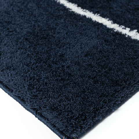 Navy Rug Blue White Shaggy Machine Washable Very Soft New Living Room Carpet Mat