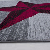 Star Rugs Red Grey Modern Check Design Mat Small X Large Living Room Hall Carpet
