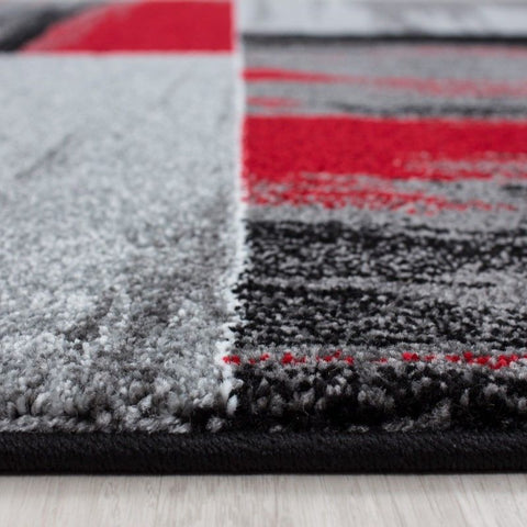Modern Rug Red Black Grey Check Pattern Carpets Lounge Runner Mat Small Large XL