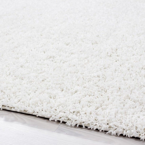 Fluffy Rug Modern Cream Shaggy High Pile Woven Mat Small Large Round Room Carpet