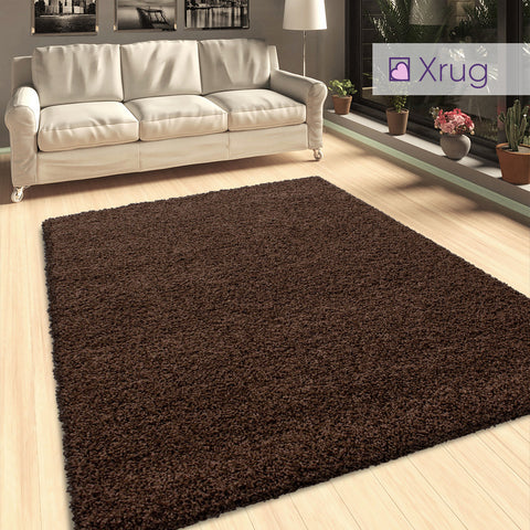 Brown Shaggy Rug 50mm long Pile Fluffy Carpet Extra Large Small Circle Round Mat for Living Room Bedroom