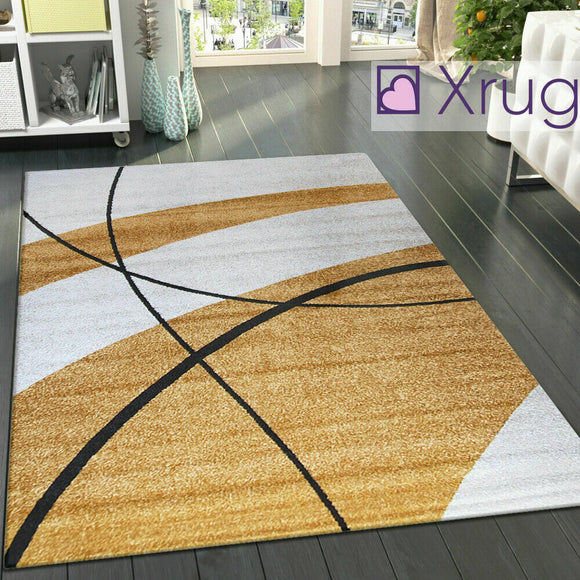 Modern Abstract Rug Woven Ivory Gold Patterned Mat Small Large Room Area Carpets