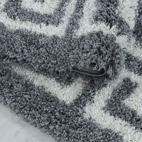Grey Fluffy Rug for Bedroom Living Room Geometric Greek Border Large Small Shaggy