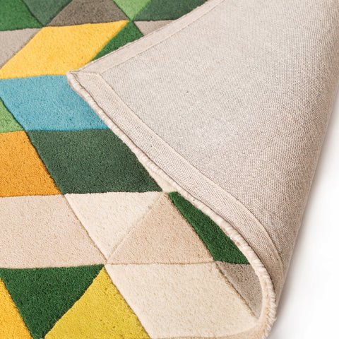Green Yellow Cream Beige Brown Blue Colourful Multicoloured Rug Designer Abstract Geometric Natural with Hand-Carved Pattern Carpet Modern Wool Rug Bedroom Area Mat Small Large Thick Round Mat Living Room Lounge Woven Short Pile Contemporary Floor New 120x170 160x220 160x160 80x150